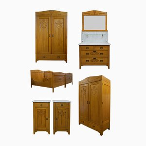 Art Nouveau Bedroom Set, 1910s, Set of 11
