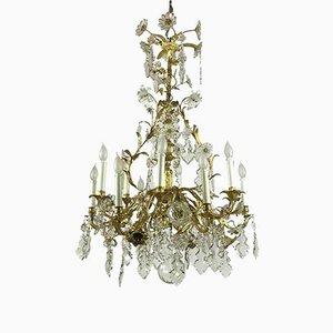 Antique French Golden Bronze & Crystal Chandelier