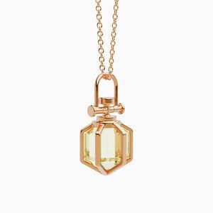 Collar colgante moderno minimalista en oro rosa de 18 quilates de Six Senses Talisman con citrino limón natural de Rebecca Li