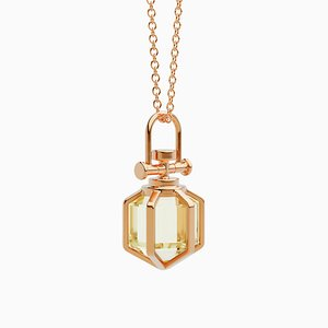 Modern Minimalist 18k Solid Rose Gold Mini Six Senses Talisman Pendant Necklace With Natural Lemon Citrine by Rebecca Li