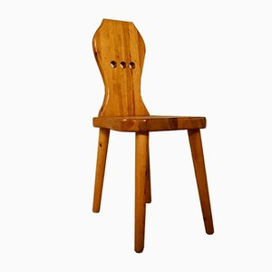 Danish Sculptural Pinewood Side Chair, 1970s