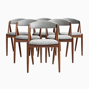 Mid-Century Dining Chairs in Teak and Hallingdal Fabric by Kai Kristiansen, 1960s, Set of 6