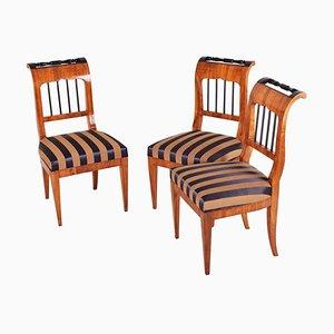 Biedermeier Walnut Chairs, Austria, 1820s, Set of 3