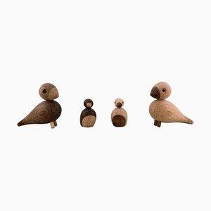 Wooden Birds by Kay Bojesen, Denmark, Set of 4