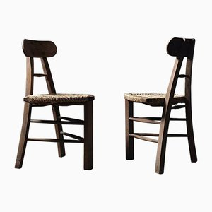 Architectural Tripod Rush Chair with Triangular Seat
