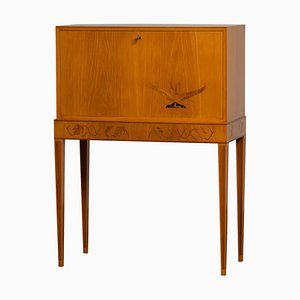 Secretaire with Elm Veneer, Sweden, 1940s