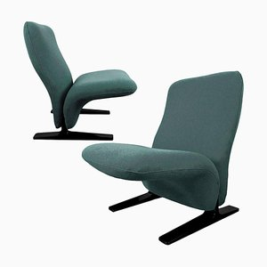 Dutch Concorde Lounge Chairs by Pierre Paulin for Artifort with New Kvadrat Upholstery, 1970s, Set of 2
