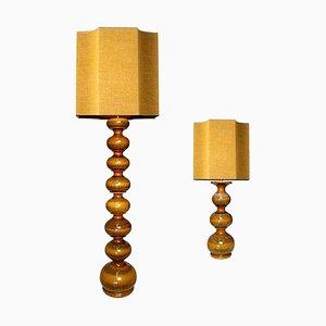 Große Keramiklampen mit neuen maßgeschneiderten Lampenschirmen aus Seide René Houben, 2er Set