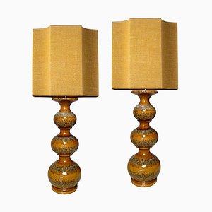 Keramik Lampen mit neuen maßgeschneiderten Lampenschirmen aus Seide von René Houben, 2er Set