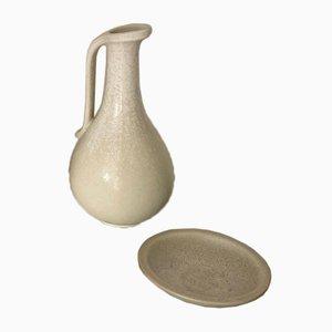 Keramik Gefäß und Kleiner Teller von Gunnar Nylund für Rörstrand, 2er Set