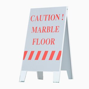 Caution Marble Floor Sign by Hans Weyers, 2015