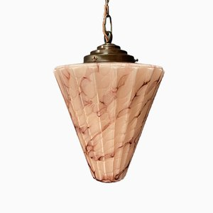 Art Deco Pink Marbled Glass Pendant Lamp