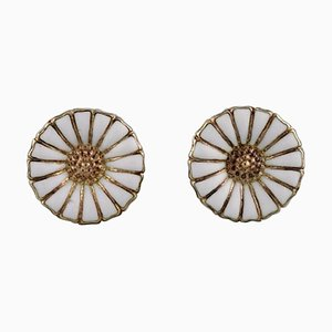 Earrings in Gold-Plated Sterling Silver with White Enamel Daisies by Georg Jensen, Set of 2