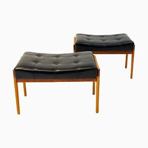 Black Leatherette and Teak Footstools from Bröderna Andersson, 1950s, Set of 2