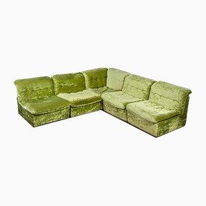 Canapé Modulaire Vintage en Velours Vert par Rolf Benz, Set de 5