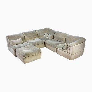 Cremefarbenes modulares Vintage Samt Sofa mit Pouf und Kissen von Rolf Benz