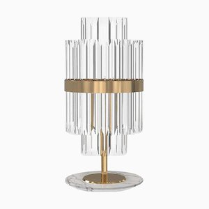 Table Lamp in Brass and Crystal Glass with Marble Base