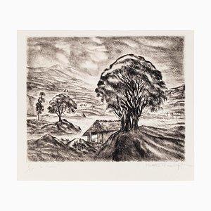 Paulette Humbert - Landscape - Etching - Mid-20th-Century
