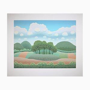 Ivan Rabuzin - Bäume unter den Wolken - Siebdruck - 1990er