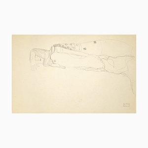 (after) Gustav Klimt - Lying Female Nude - Vintage Colotype Print - 1919