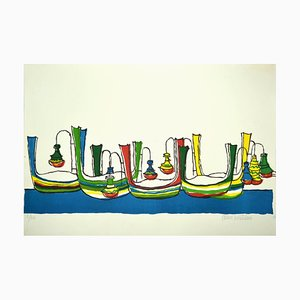 Maurilio Catalano - Boats - Colored Screen Print - Late 20th-Century