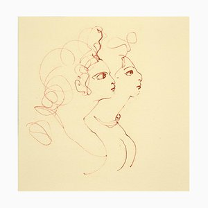 Leonor Fini, Two Faces, Lithograph on Cardboard, 1970