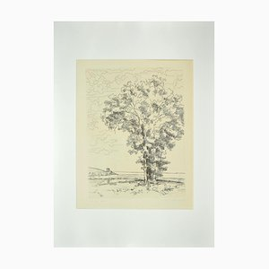 Andre Roland Brudieux, The Tree On the Sea, Etching, Mid-20th Century