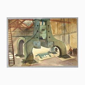 Jean-Raymond Delpech, Factory, Watercolor, 1939