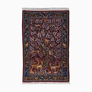 Dunkelroter Floraler Teppich mit Motiv, Bordüre und Paradise Garden Pattern