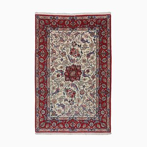 Floral Beige Carpet with Border, Medallion and Signature