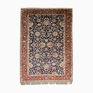 Dunkelblauer floraler reiner Seide Teppich mit zentralem Medallion und Bordüre