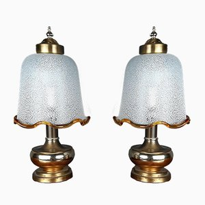 Lampade da comodino vintage in vetro di Murano, Italia, anni '80, set di 2