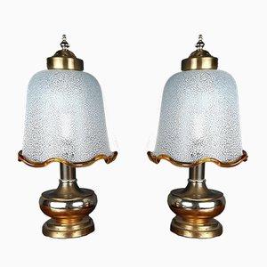 Vintage Murano Glas Nachttischlampen, Italien, 1980er, 2er Set