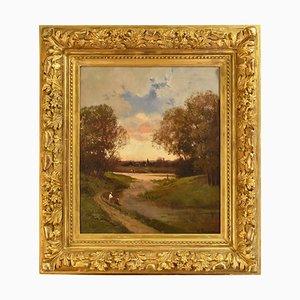 Landschaftsmalerei mit Fischern, Öl auf Leinwand, 19. Jahrhundert