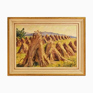 Landscape Painting of Sheaves, Oil on Canvas, 20th Century