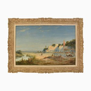Landschaftsmalerei, Öl auf Leinwand, 19. Jahrhundert