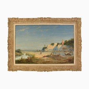 Pintura de paisaje, óleo sobre lienzo, siglo XIX