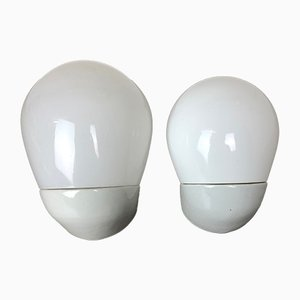 Mid-Century German Porcelain Wall Lights by Wilhelm Wagenfeld for Lindner, Set of 2