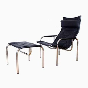Mid-Century Leather HE1106 Lounge Chair with Ottoman by Hans Eichenberger for Strässle, Set of 2