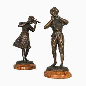 Vintage Statuen aus Bronze, 1800er, 2er Set