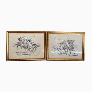 Pastel of Polo Players by Henri Vincent Anglade, 1930, Set of 2