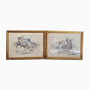 Pastello di giocatori di polo di Henri Vincent Anglade, 1930, set di 2