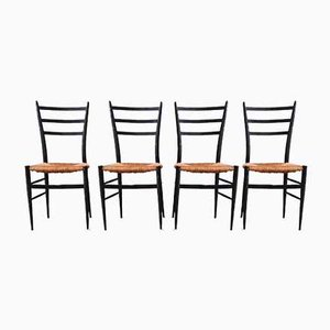 Italian Spinetto Dining Chairs from Chiavari, 1950s, Set of 4