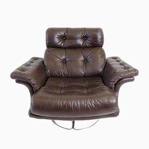 Scandinavian Chesterfield Style Brown Leather Lounge Chair, 1960s