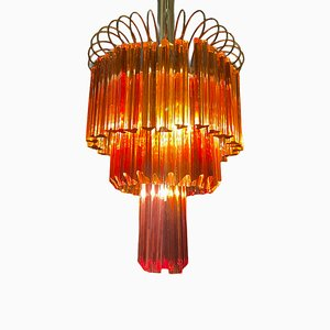 Large Caramel Murano Glass Prism Chandelier by Paolo Venini, 1960s