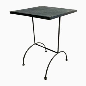 Vintage Iron & Wood Side Table, 1970s