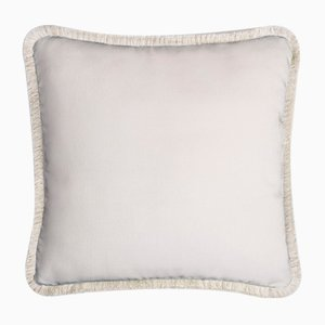 Happy Pillow Soft Velvet Cushion with Fringe White-White by Lorenza Briola