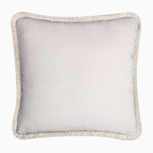 Happy Pillow Soft Velvet Cushion with Fringe White-White by Lorenza Briola