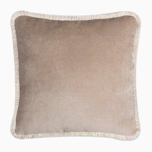 Happy Pillow Soft Velvet Cushion with Fringe Beige-White by Lorenza Briola