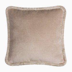 Happy Pillow Soft Velvet Cushion with Fringe Beige-Beige by Lorenza Briola